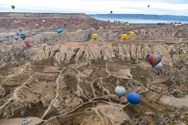 Hot air balloons in Cappadocia Turkey. Travel wall art