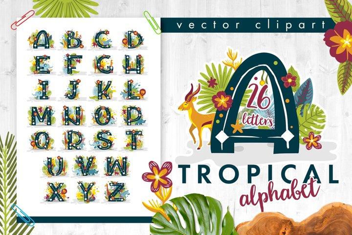 Tropical alphabet cartoon animals vector