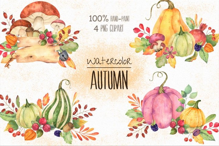 Watercolor autumn compositions