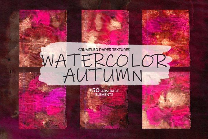 Crumpled Textures Watercolor Autumn