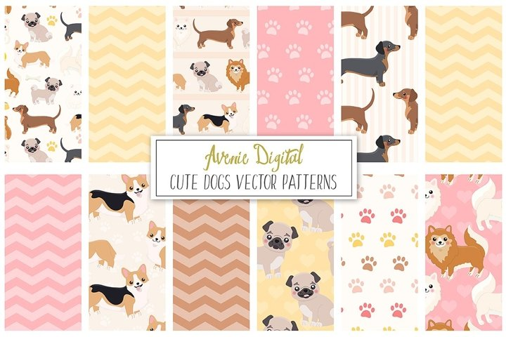 Cute Dogs Digital Paper and Vector Patterns