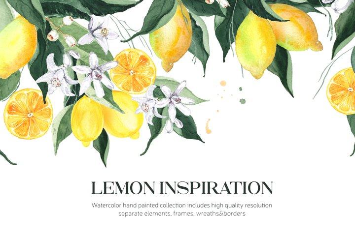 Lemon Watercolor PNG Cliparts&Frames
