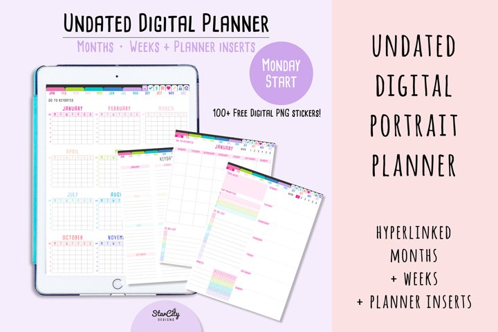 Undated Digital Planner in Portrait Orientation