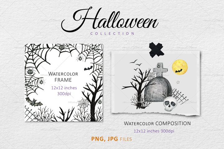 Halloween Frame PNG, Watercolor Autumn border Clipart