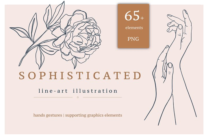 Hands & Graphic line art illustration