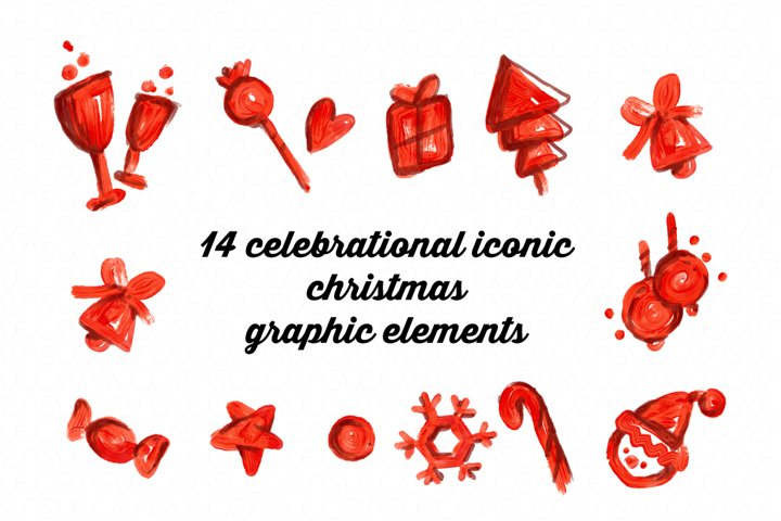 14 celebrational iconic Christmas graphic elements