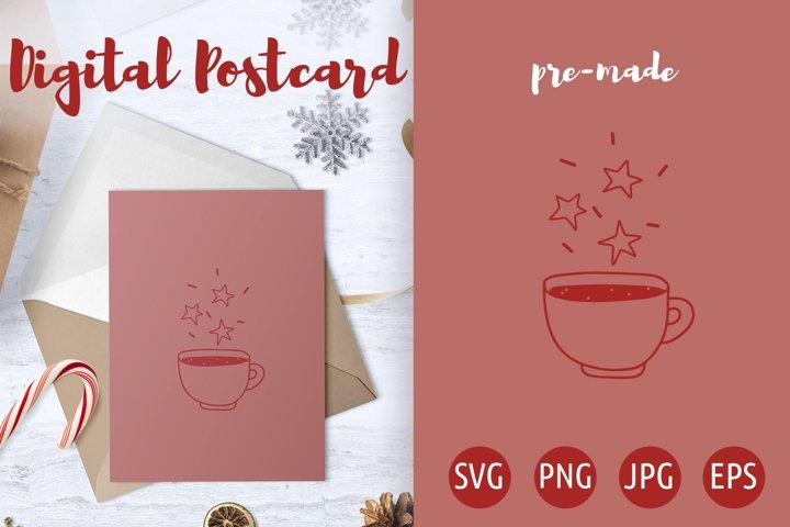 Cute magic mug with Star Postcard - Poster svg