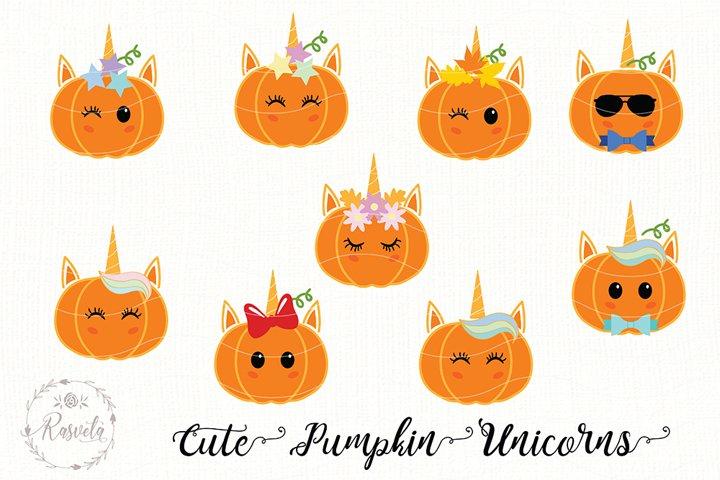 Cute Baby Pumpkin Unicorns Clip Art