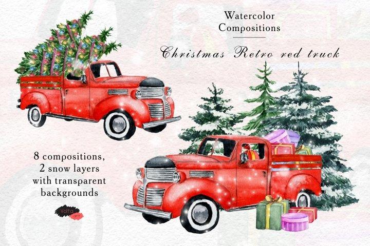 Watercolor Red Retro Pickup , PNG Vintage Christmas car