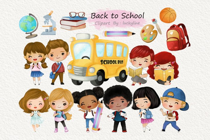Back to school clipart Instant Download PNG file - 300 dp
