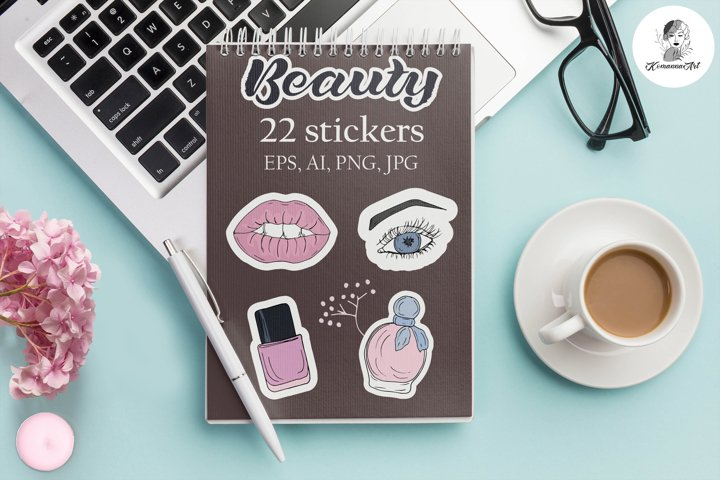 Vector Stickers graphics Digital set Sketch Beauty, Make Up