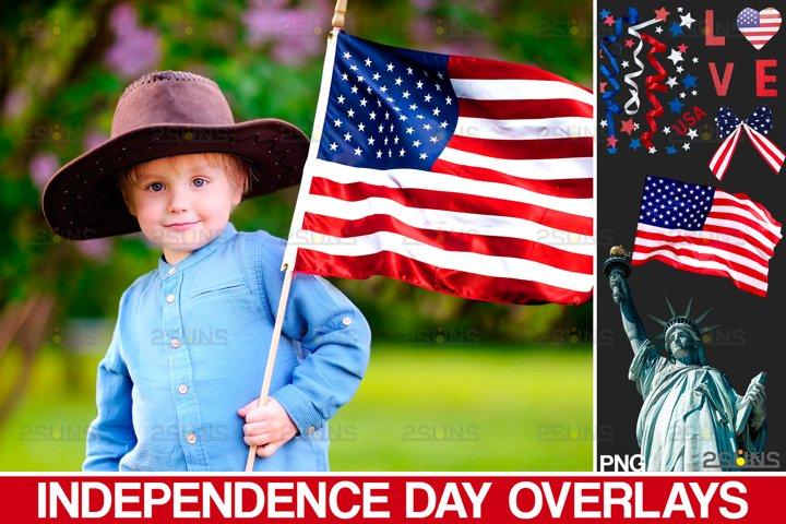 Independence Day photo overlays, Photoshop overlays, USA