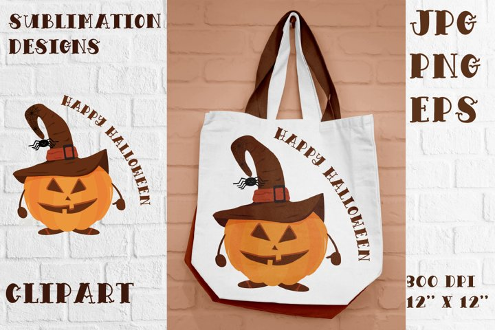 Halloween pumpkin in hat. Sublimation and Clipart