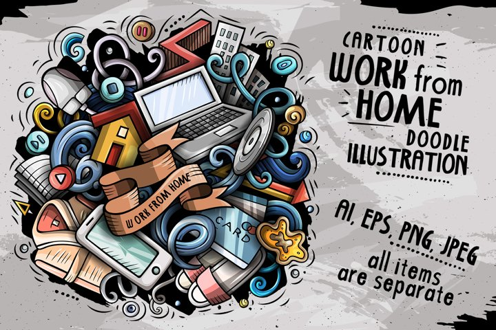 Cartoon vector doodles Work From Home illustration