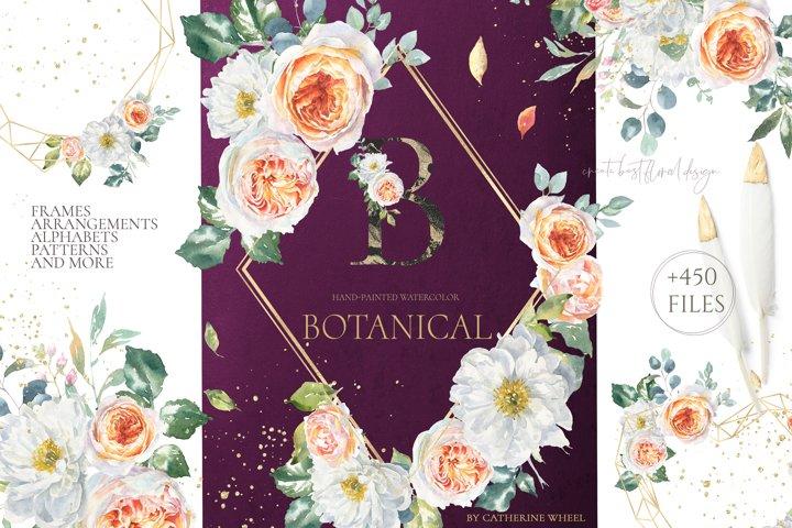 SALE Botanical Watercolor Floral set luxury Flower clipart