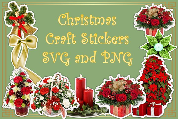 Christmas Clipart and Stickers Bundle SVG and PNG 45 Files