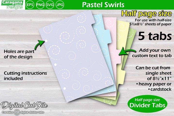 Pastel Swirls, half page divider tabs