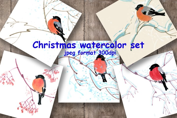 Watercolor Christmas pictures with bullfinch