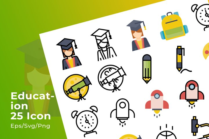 Set of 25 Education icon with 3 stye design