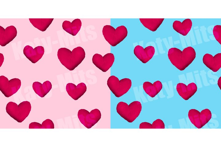 Seamless pattern hearts on blue and light pink background