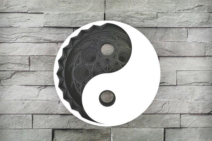 Layered Mandala SVG, Laser cut file Mandala, 3D Yin Yang