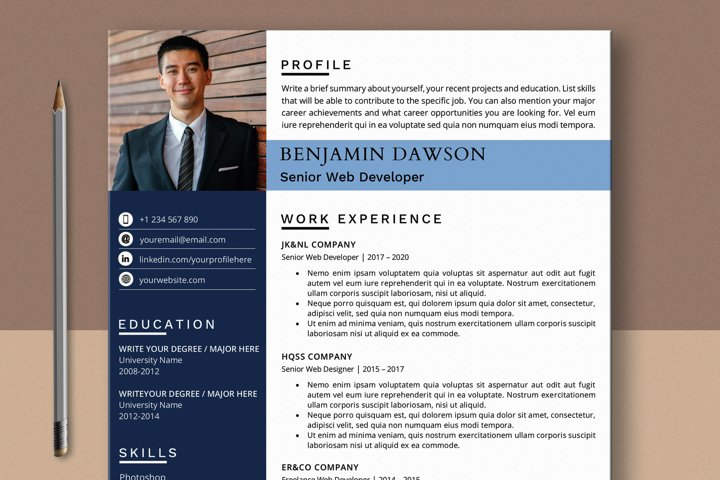 Web Developer Resume Template with Photo for Word & Pages