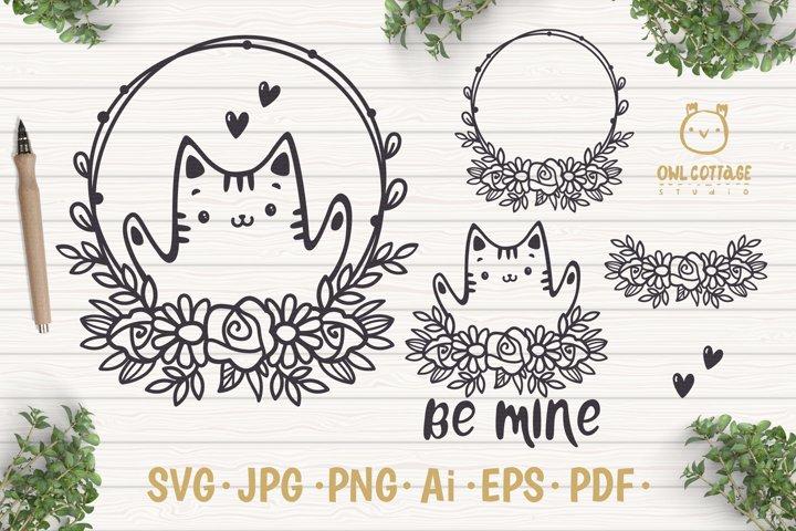 Valentine Cat svg , Kitten with floral decor Svg, Valentine' example