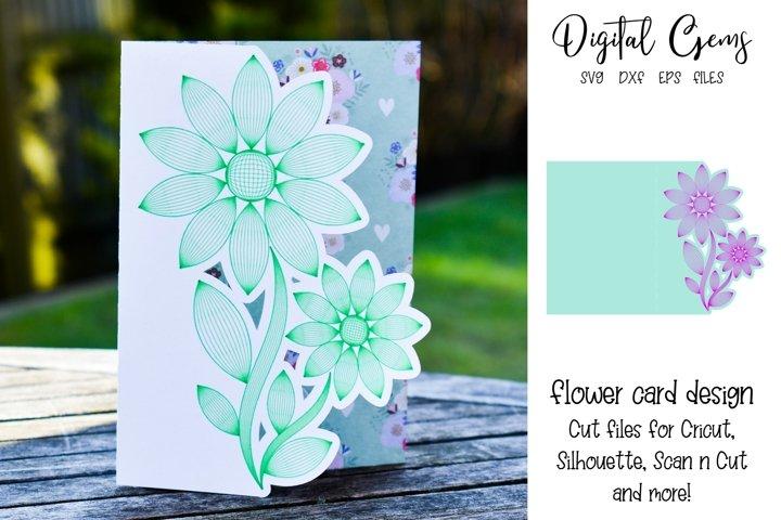 Flower card design SVG / DXF / EPS files