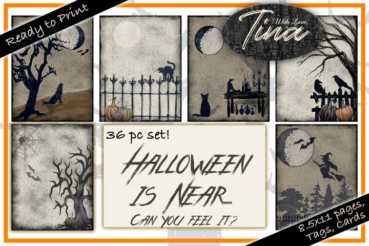 Halloween Graphics Paper Tags Elements Neutral Fall Colors