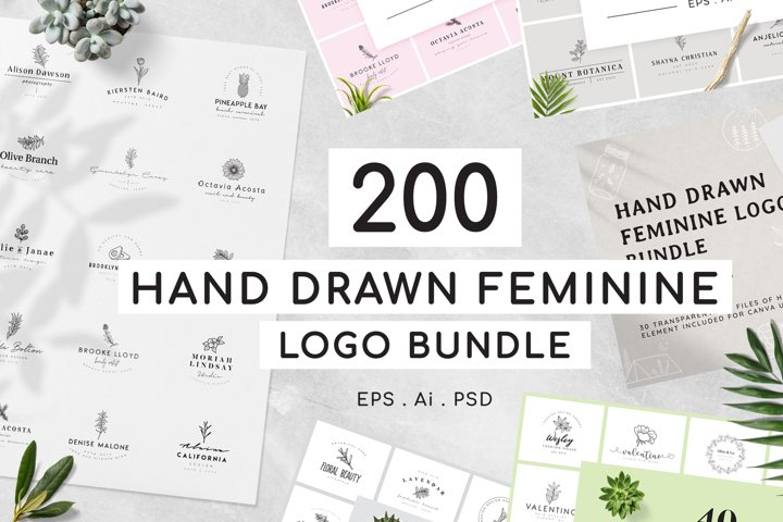 200 Hand Drawn Feminine Logo Bundle
