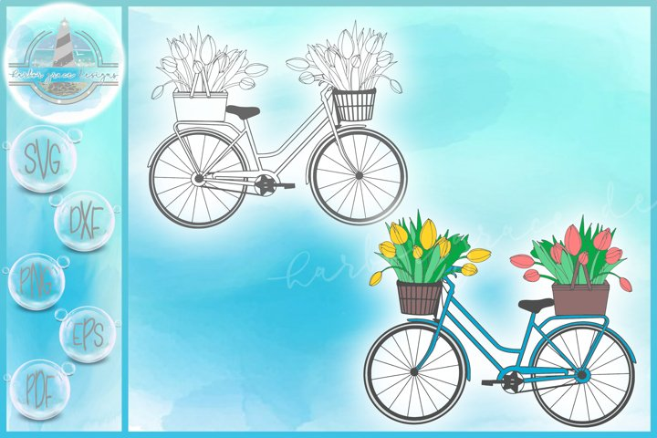 Tulips In Bicycle Basket Gardening SVG