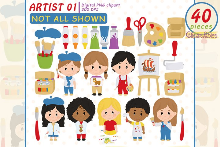 Cute ARTIST clipart, Cute painting clip art, Artist friends