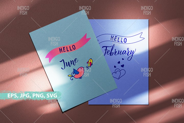 Hello 12 months SVG. Colored and outlines set