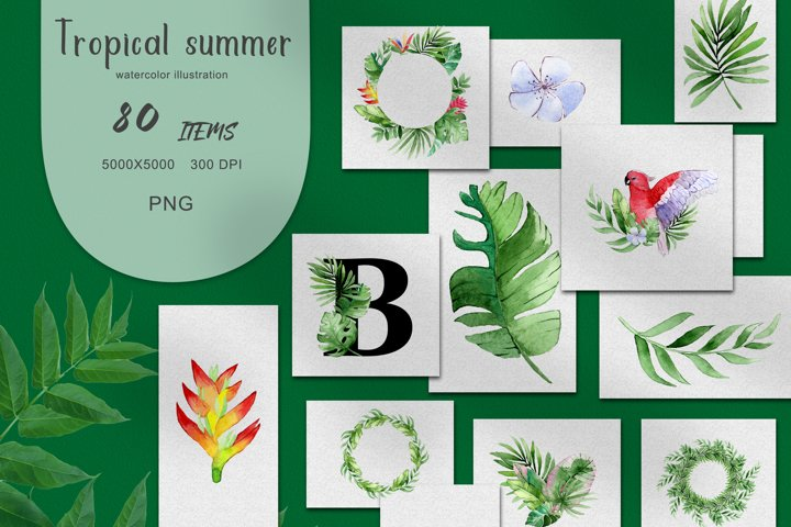 PNG Watercolor Tropical Summer Clipart Set