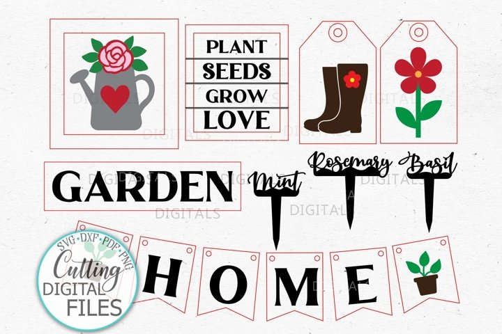Garden tier tray Decor kit laser wood cutting svg dxf