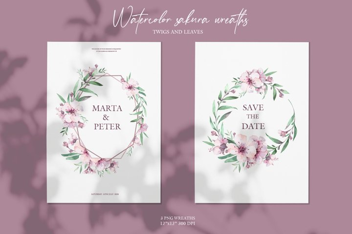Watercolor sakura wreaths