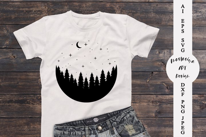 Moon silhouette svg, Adventure svg, Camping shirt design dxf