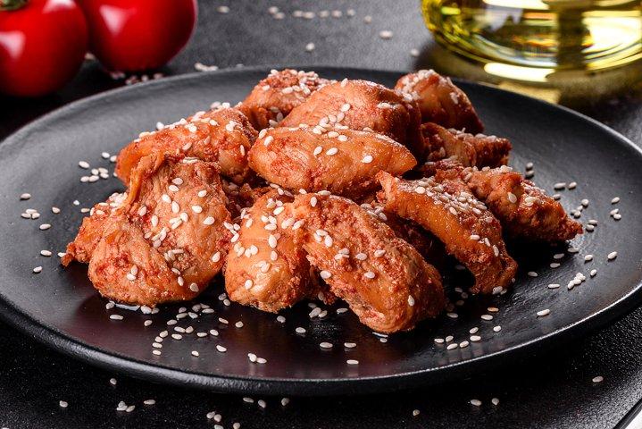 Chicken fillet in sesame seeds. 5 photos