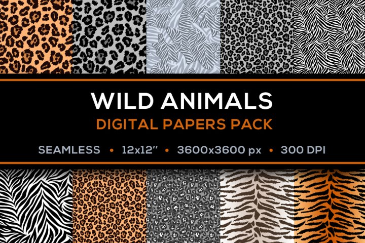 Safari Digital Papers - Pack of 10 JPG 12x12