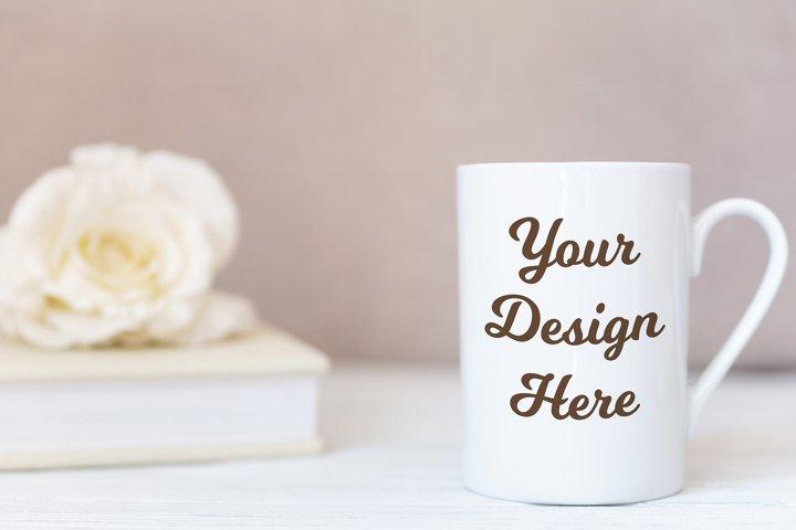 Mockup - White mug on white wooden background with roses