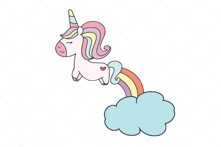 Cute Unicorn Layered SVG File Clipart Instant Download