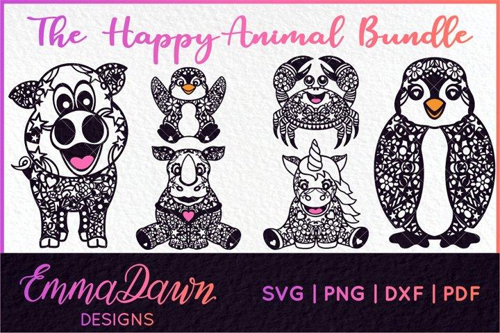 THE HAPPY ANIMAL BUNDLE of 6 ZENTANGLE SVG DESIGNS