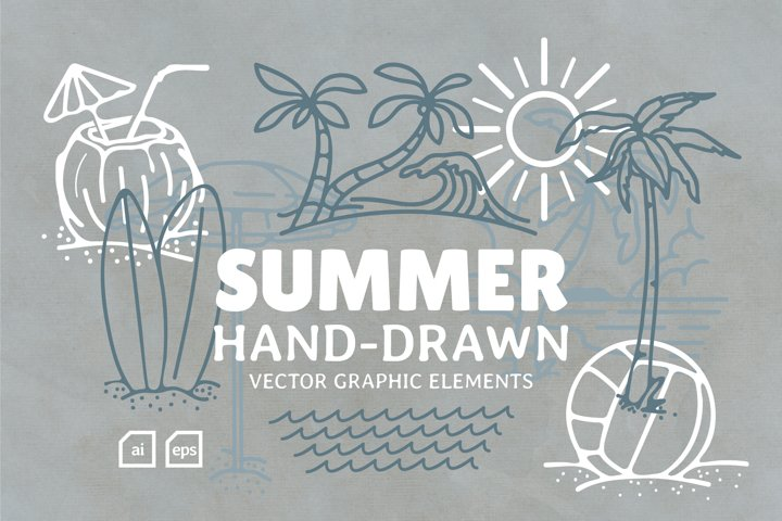 Summer Hand Drawn Graphic Elements