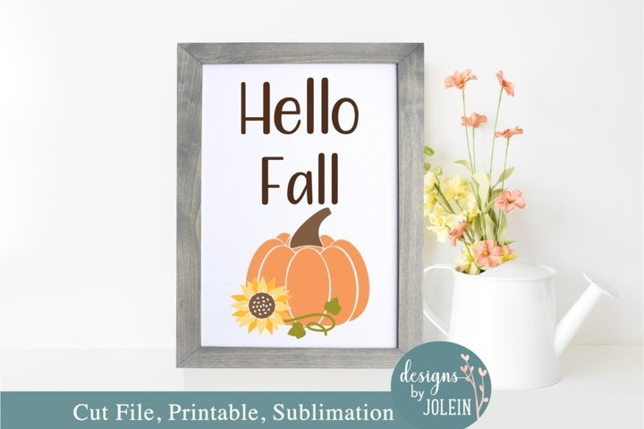 Hello Fall SVG, Sublimation, Printable