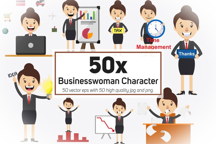 50x Businesswoman Character and Mascot Collection
