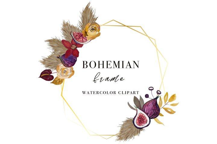 Watercolor Golden Frame Clipart - Floral Watercolor Wedding