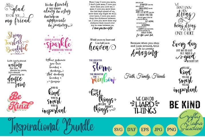 Inspirational Bundle Svg, Motivational Svg, Be Kind Svg