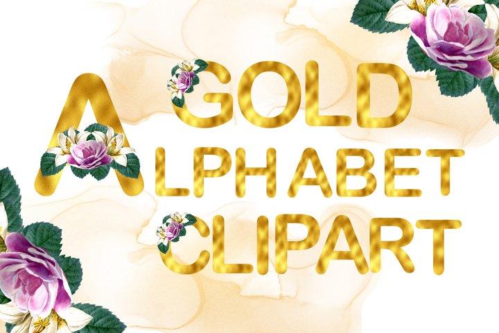 Gold Watercolor Rose Alphabet Clipart