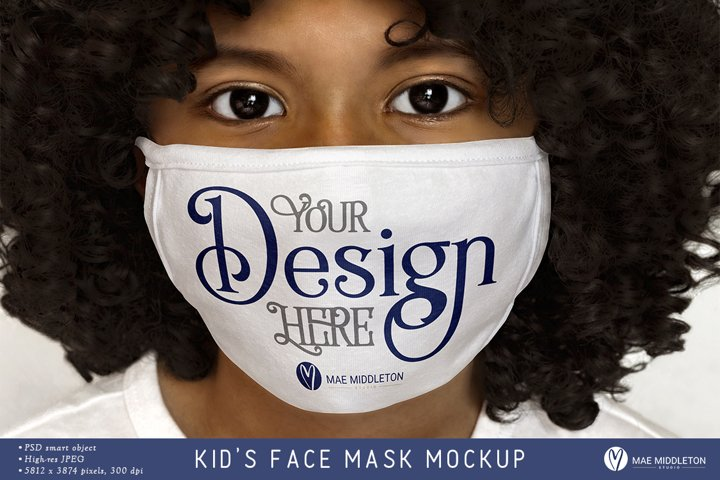 Girls Face Mask Mockup, white | psd & jpg