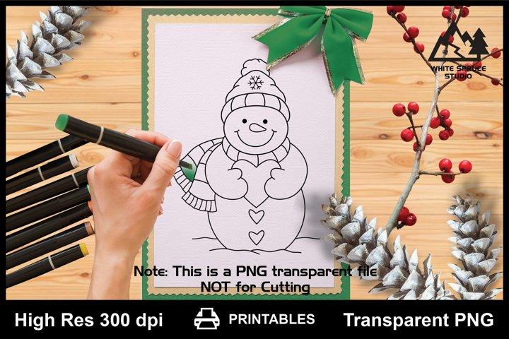 Snowman Holding Heart Printable Line Art PNG, Snowman Saying